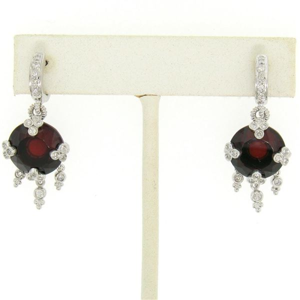 14k White Gold 11.2 ctw Round Garnet Dangle Earrings w/ Brilliant Diamond Accent