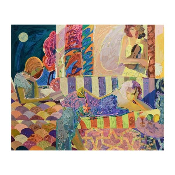 "Sabzi, ""Summer Evening"" Limited Edition Hand Embellished Serigraph on Canvas, Nu"