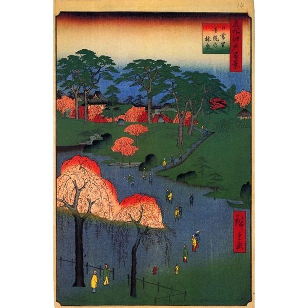 Hiroshige  Temple Gardens, Nippori