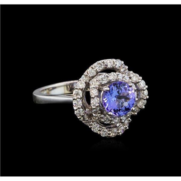 14KT White Gold 1.40 ctw Tanzanite and Diamond Ring