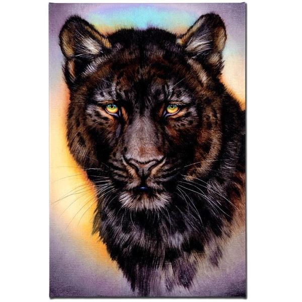 """""""Black Phase Leopard"""" Limited Edition Giclee on Canvas by Martin Katon, Numbered"""