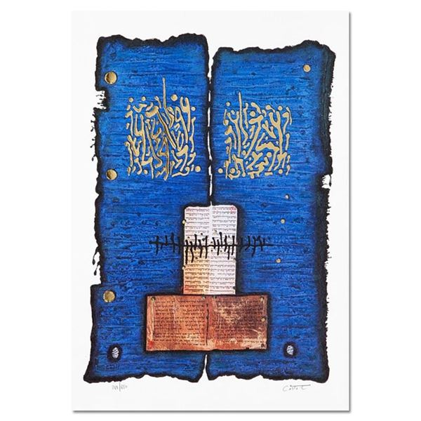 """Moshe Castel, """"Ketuba """" Limited Edition Gold Embossed Serigraph with Letter of A"""
