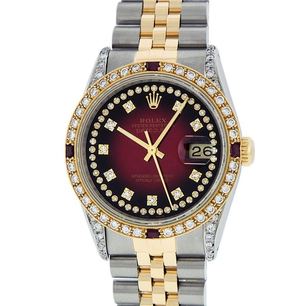 Rolex Mens 2 Tone Lugs Red Vignette Diamond String & Ruby Datejust Wristwatch