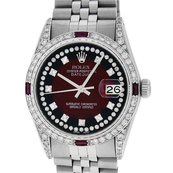Rolex Mens SS MOP Diamond Lugs & Princess Cut Diamond Datejust Wristwatch 36MM