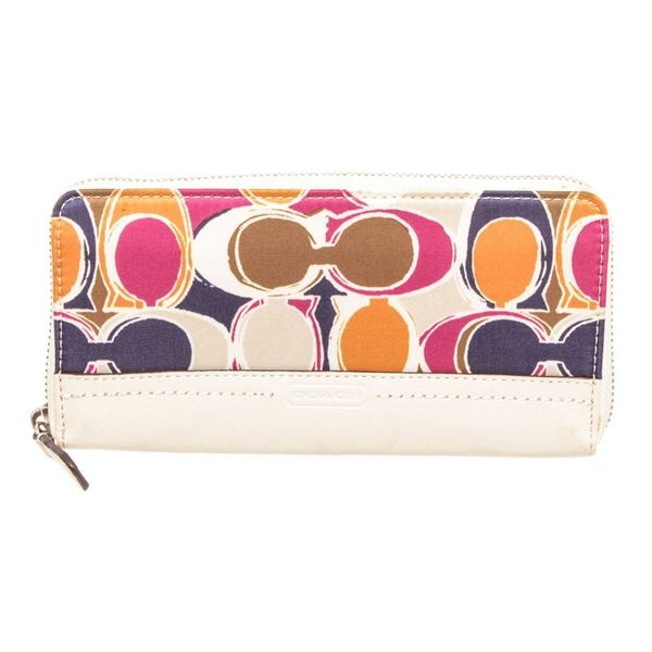 Coach White Multicolor Hand Drawn Scarf Print Canvas  Leather Zippy Wallet