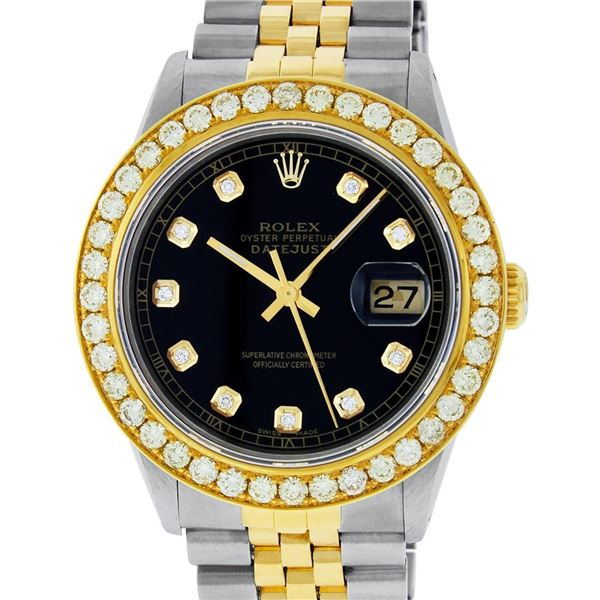 Rolex Mens 2 Tone 18K Black Diamond Oyster Perpetual Datejust Wristwatch 36MM