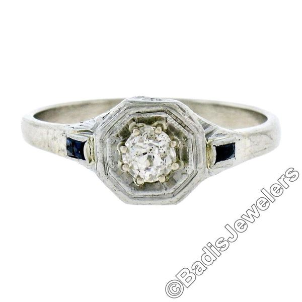 Art Deco 14kt White Gold 0.28 ctw Diamond Solitaire Engagement Ring