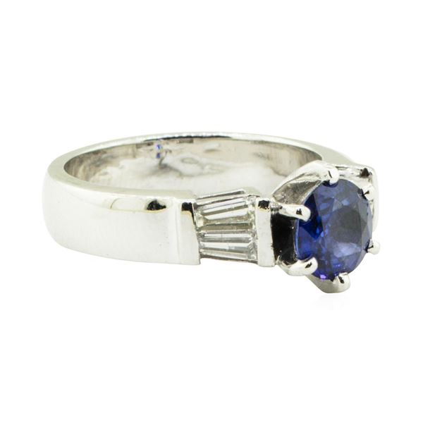 1.62 ctw Round Brilliant Blue Sapphire And Diamond Ring - Platinum