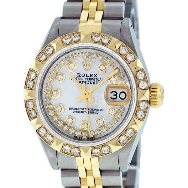 Rolex Ladies 2 Tone Mother Of Pearl Pyramid Diamond Datejust Wristwatch 26MM