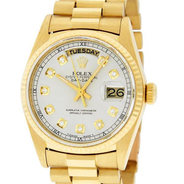 Rolex Mens 18K Yellow Gold Silver Diamond Quickset President Wristwatch With Rol