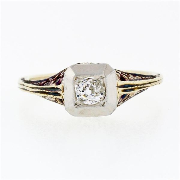Antique Edwardian 14K TT Gold 0.15 ctw Old Mine Diamond Filigree Engagement Ring