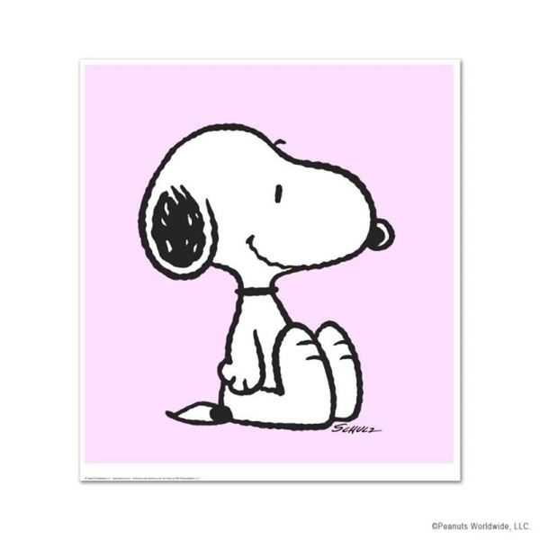"""Peanuts, """"Snoopy: Pink"""" Hand Numbered Limited Edition Fine Art Print with Certif"""
