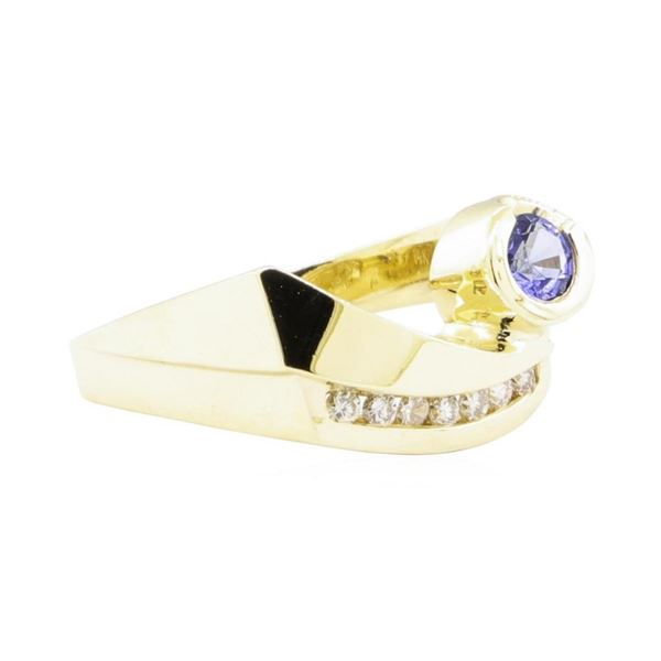 0.55 ctw Blue Sapphire and Diamond Ring - 14KT Yellow Gold