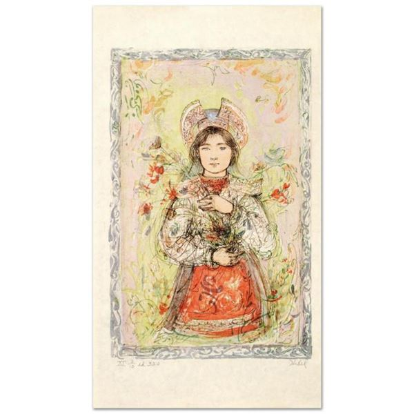"""""""Tonnette"""" Limited Edition Lithograph by Edna Hibel (1917-2014), Numbered and Ha"""