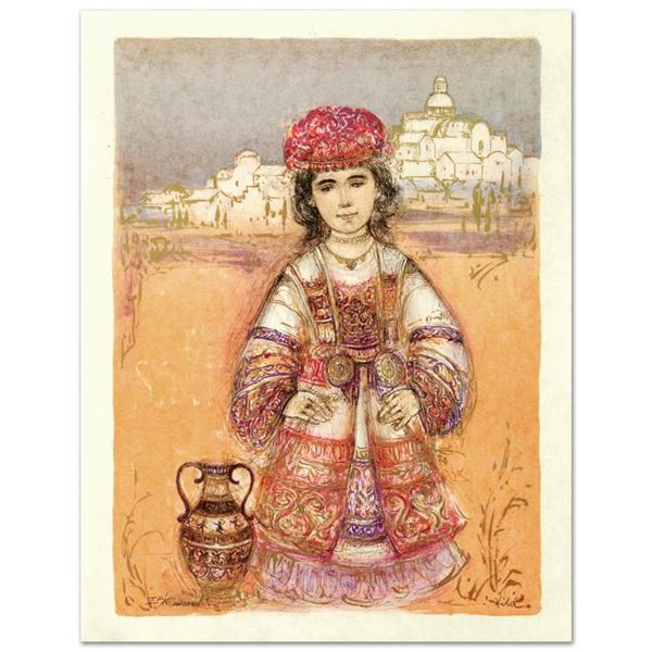 """""""Aegea"""" Limited Edition Lithograph by Edna Hibel (1917-2014), Numbered and Hand"""