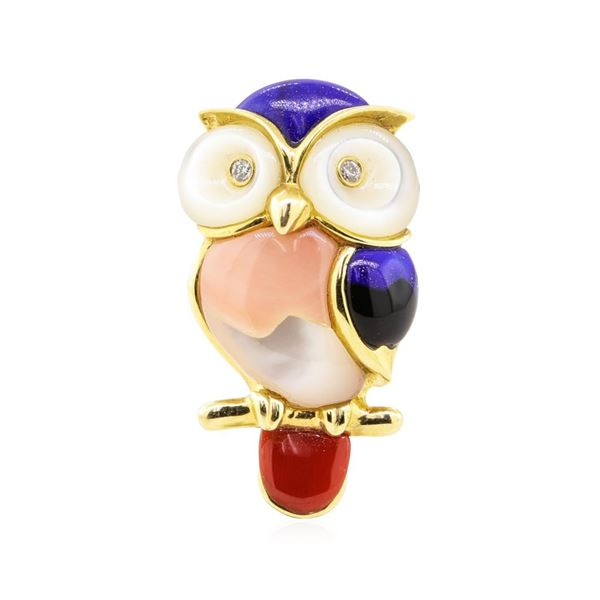 0.04 ctw Diamond and Multi-colored Gemstone Owl Pin - 14KT Yellow Gold