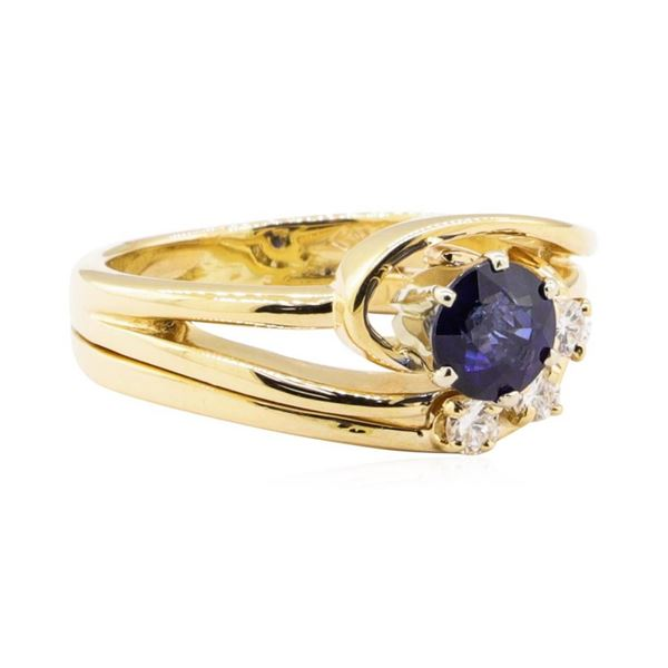 0.78 ctw Blue Sapphire and Diamond Ring - 14KT Yellow Gold