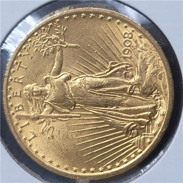 1908 No Motto $20 St. Gaudens Double Eagle Gold Coin CU