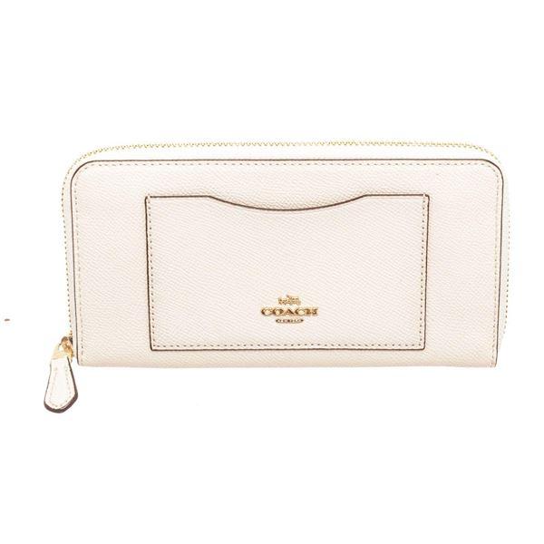 Coach White Crossgrain Leather Zippy Wallet