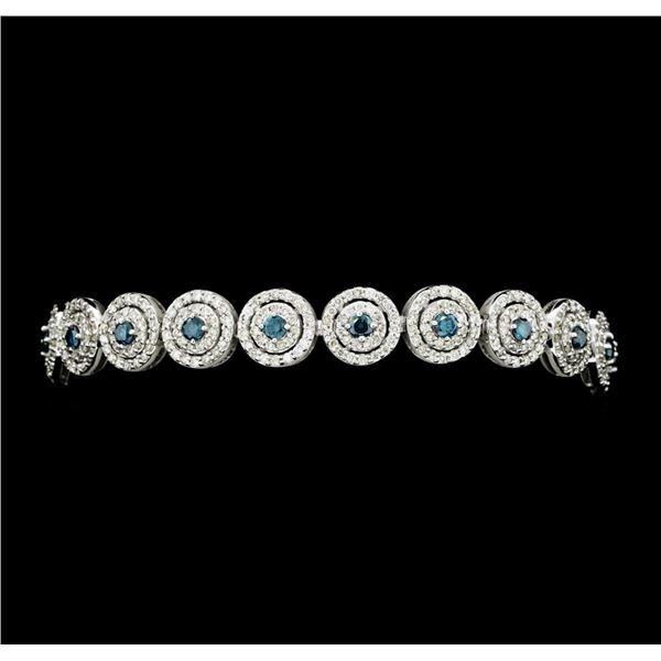 4.58 ctw Round Brilliant Cut Diamond Bracelet - 14KT White Gold