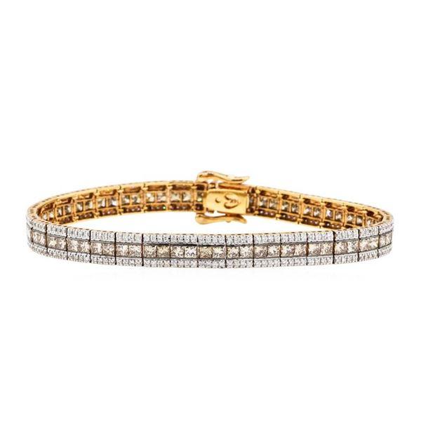 8.22 ctw Princess Cut Diamond And Round Brilliant Cut Diamond Bracelet - 14KT Ro