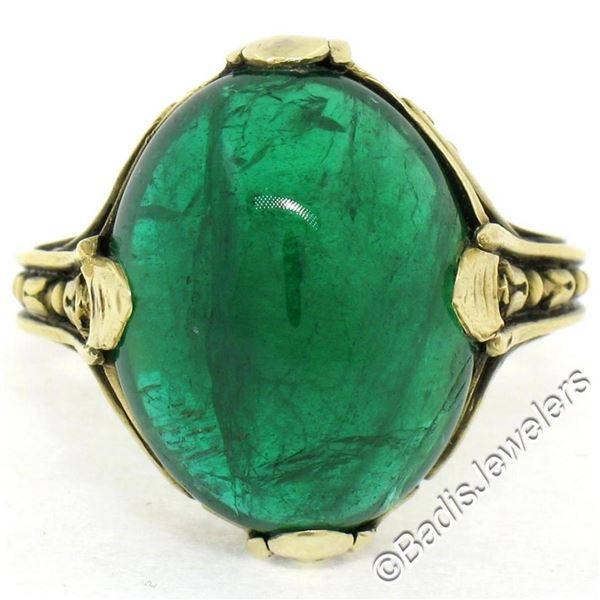 14K Yellow Gold 10.03 ctw GIA Oval Cabochon VERY Fine Green Emerald Ring