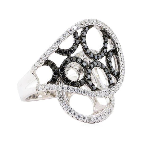 1.17 ctw Black and White Diamond Ring - 18KT White Gold