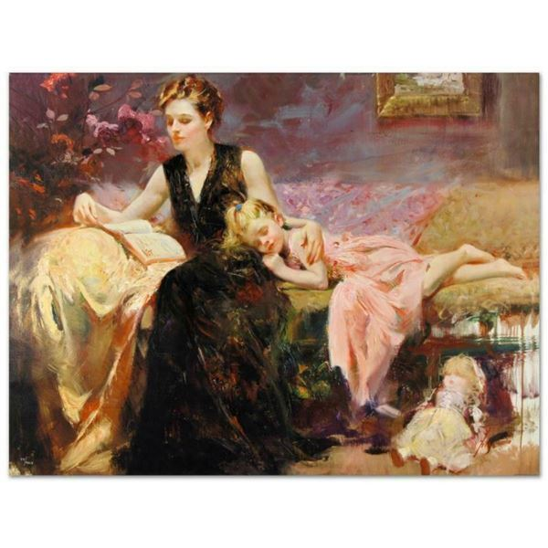"""Pino (1939-2010), """"Precious Moments"""" Artist Embellished Limited Edition on Canva"""