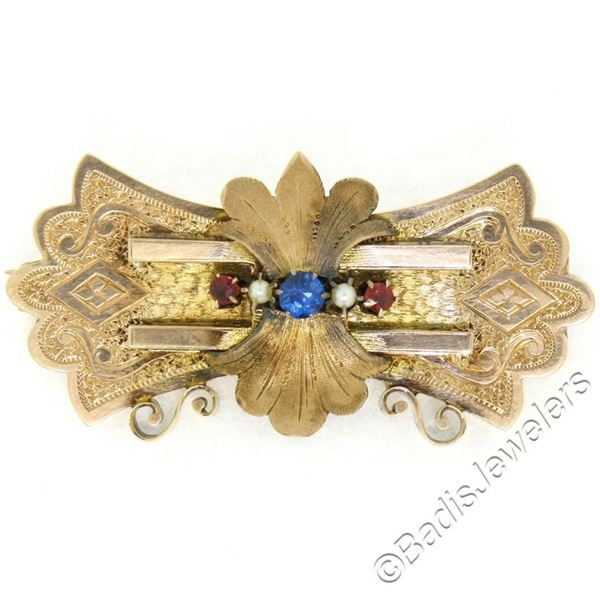 Antique Victorian Engraved Etched 9k Rose Gold Sapphire Ruby & Pearl Brooch Pin