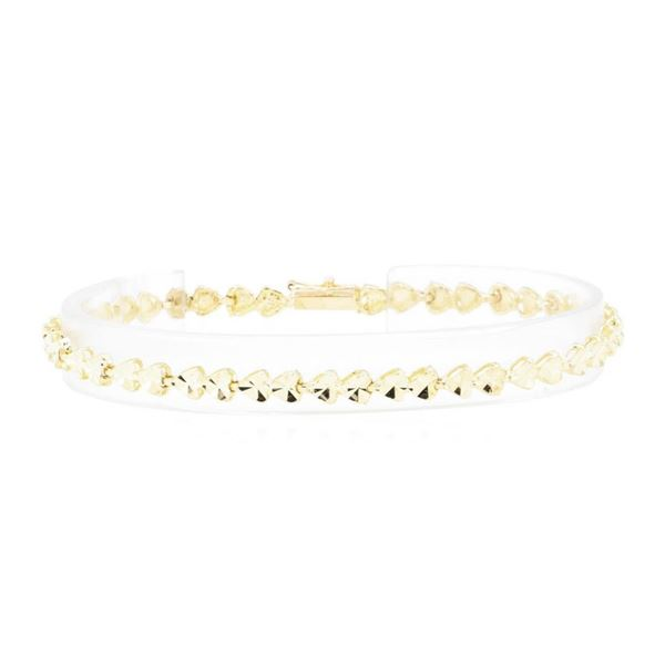 Diamond-Cut Heart Motif Bracelet - 14KT Yellow Gold