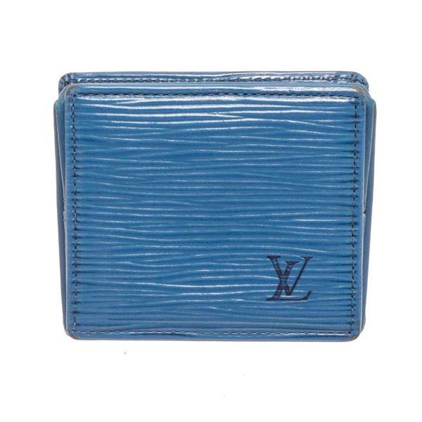Louis Vuitton Blue Epi Leather Boite Coin Case Wallet
