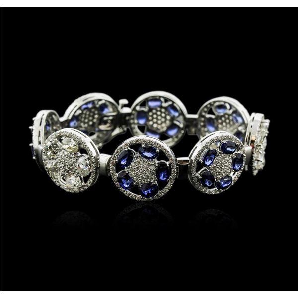 14KT White Gold 21.00 ctw Sapphire and Diamond Bracelet