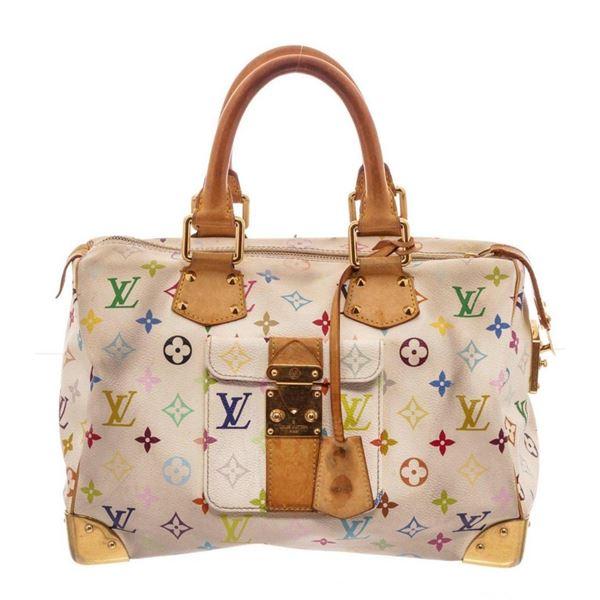 Louis Vuitton White MC Monogram Speedy 30 Satchel Bag