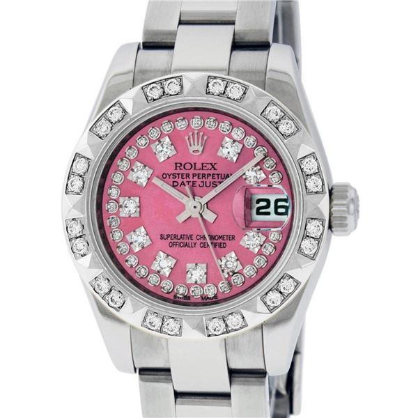 Rolex Ladies Stainless Steel Quickset Pink String Diamond 26MM Datejust Wristwat