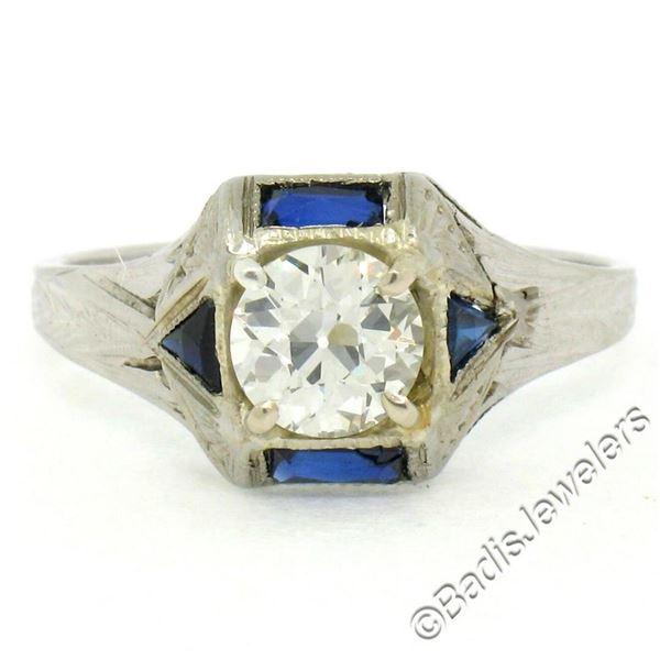 Antique Art Deco 18kt White Gold 0.65 ctw European Diamond and Sapphire Ring