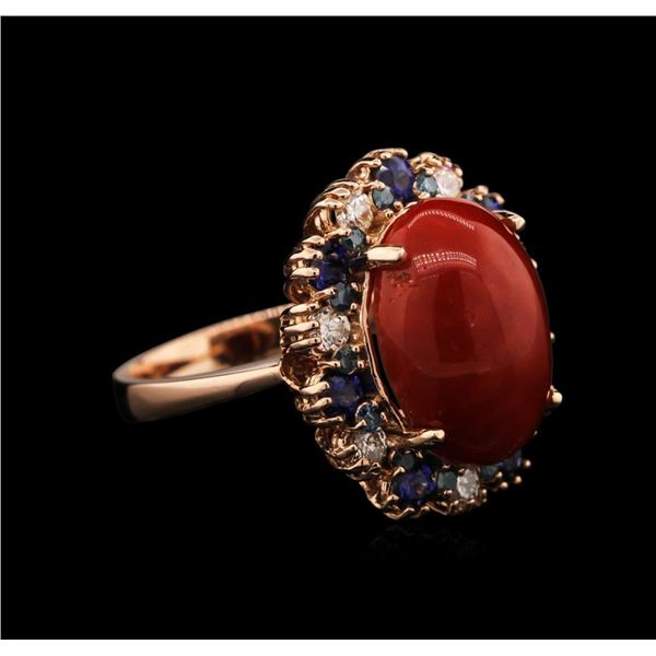 6.43 ctw Coral, Sapphire and Diamond Ring - 14KT Rose Gold