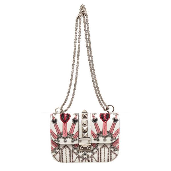 Valentino White Pink Love Blade Beaded Glam Lock Flap Bag