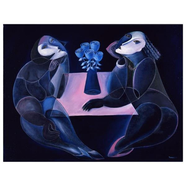 """Yuroz, """"Table Of Negotiation"""" Hand Signed Limited Edition Serigraph on Canvas wi"""