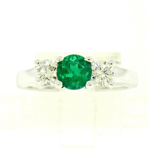 14k White Gold GIA Emerald & Diamond 3 Stone 1.50 ctw Engagement Right Hand Ring