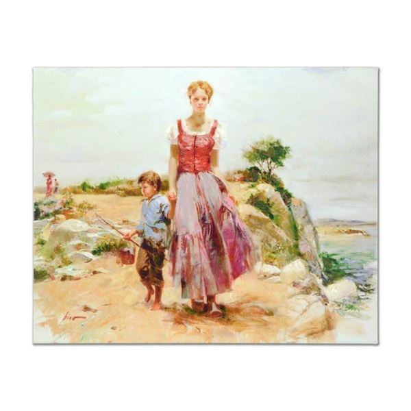 """Pino (1939-2010), """"Cliffside at the Sea"""" Artist Embellished Limited Edition on C"""