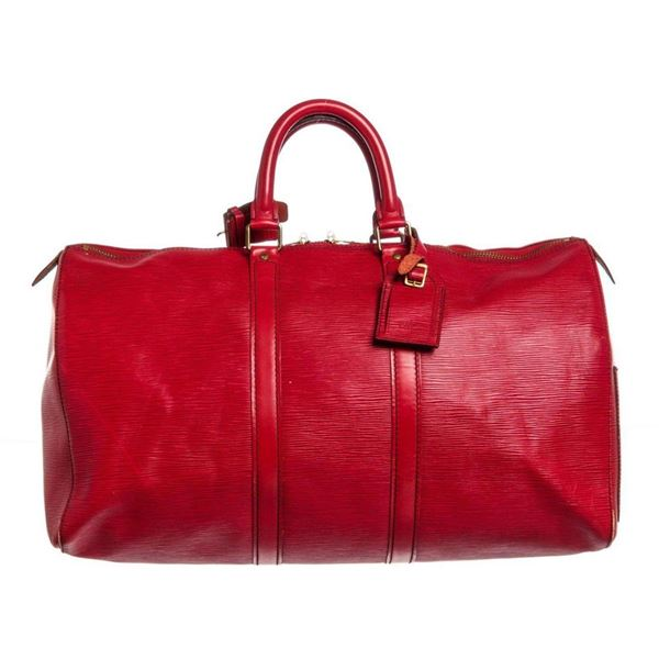 Louis Vuitton Red Epi Leather Keepall 45 cm Duffle Bag