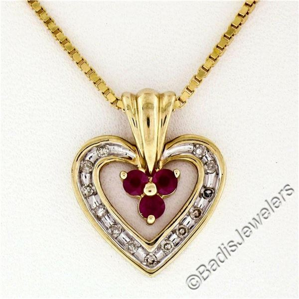 14kt Yellow Gold 0.51 ctw Round Ruby and Diamond Open Heart Pendant Necklace