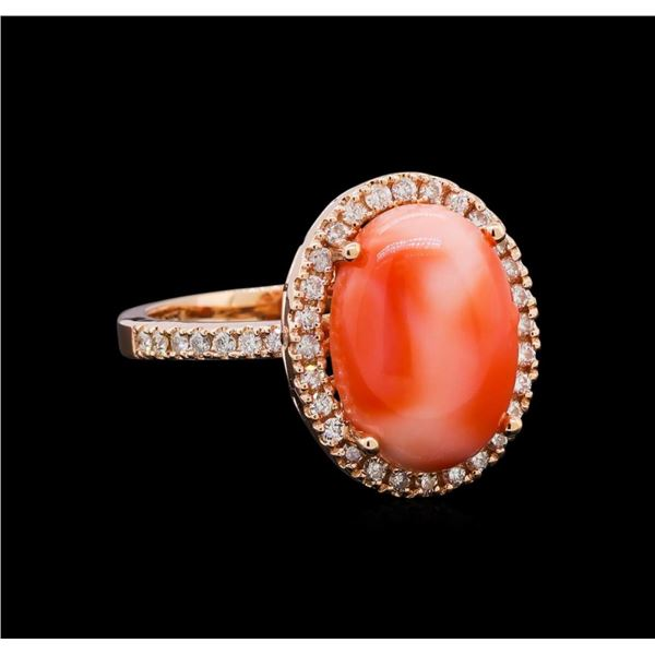 5.66 ctw Coral and Diamond Ring - 14KT Rose Gold