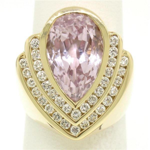 14k Yellow Gold Bezel Pear Morganite & Diamond Channels 8.05 ctw Large Ring