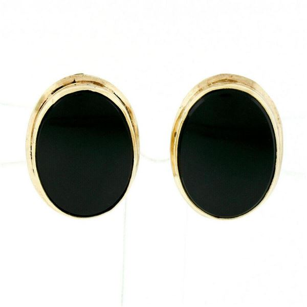 Vintage 14kt Yellow Gold Bezel Set Oval Black Onyx Button Screw-On Earrings