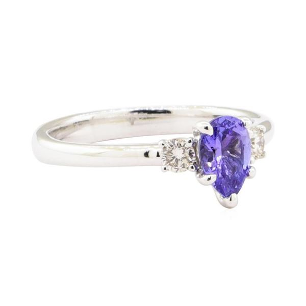 0.79 ctw Tanzanite and Diamond Ring - 14KT White Gold