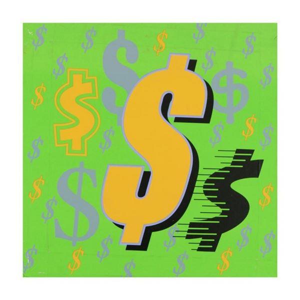 Dollar Signs (Green Italic) by Steve Kaufman (1960-2010)