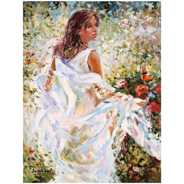 """Igor Semeko, """"Lady in White Dress"""" Hand Signed Limited Edition Giclee on Canvas"""