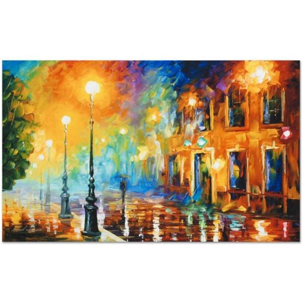 """Leonid Afremov (1955-2019) """"Misty City"""" Limited Edition Giclee on Canvas, Number"""