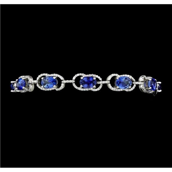 12.46 ctw Oval Mixed Blue Sapphire And Round Brilliant Cut Diamond Bracelet - 14